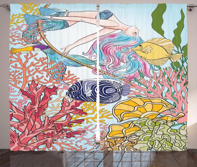 Sketchy Sea Coral Reefs Curtain