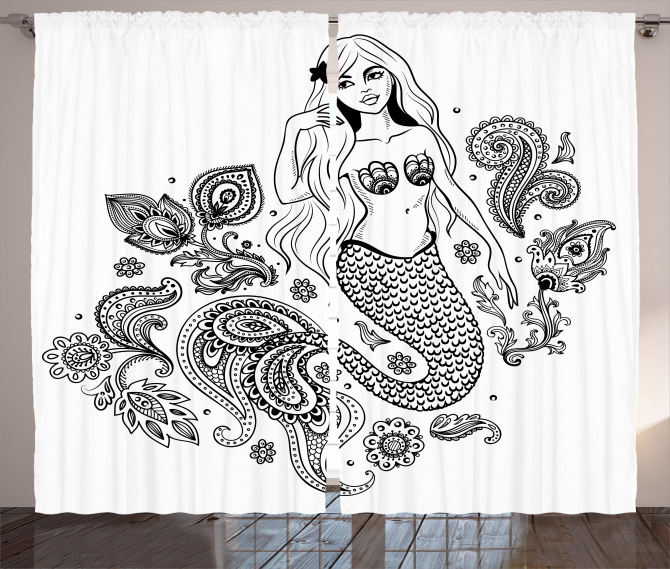 Mermaid Figure in Ocean Curtain