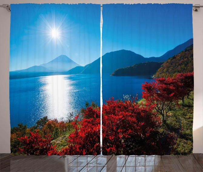 Sunny Autumn Mountain Curtain