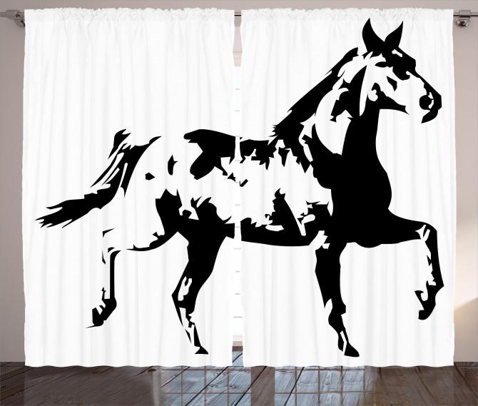 Running Horse Silhouette Curtain