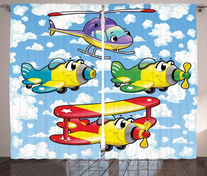 Kids Cute Airplanes Sky Curtain