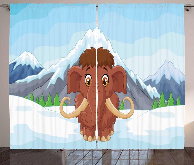 Baby Ice Snowy Mountain Curtain