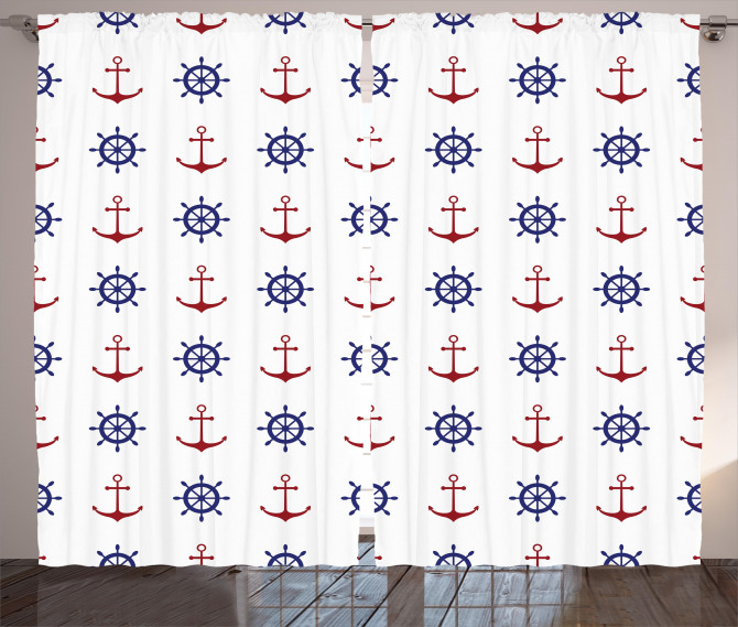 Anchors and Ship Wheels Curtain