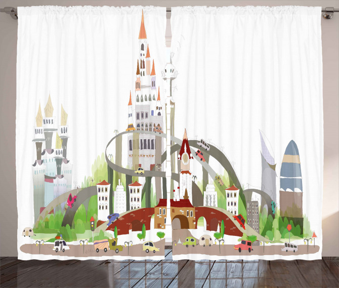 Mega City Urban Scenery Curtain