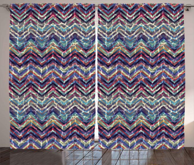 Abstract ZigZag Chevron Curtain