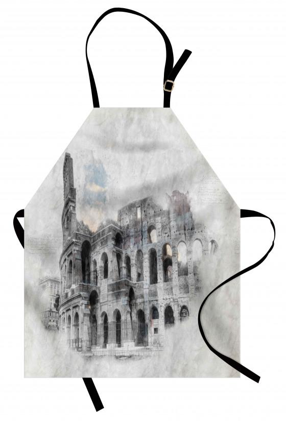 Kolezyum Baskılı Mutfak Önlüğü İtalya Orta Çağ Beyaz