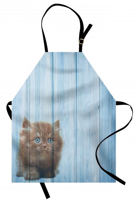 Sevimli Minik Kedi Desenli Mutfak Önlüğü Mavi Ahşap