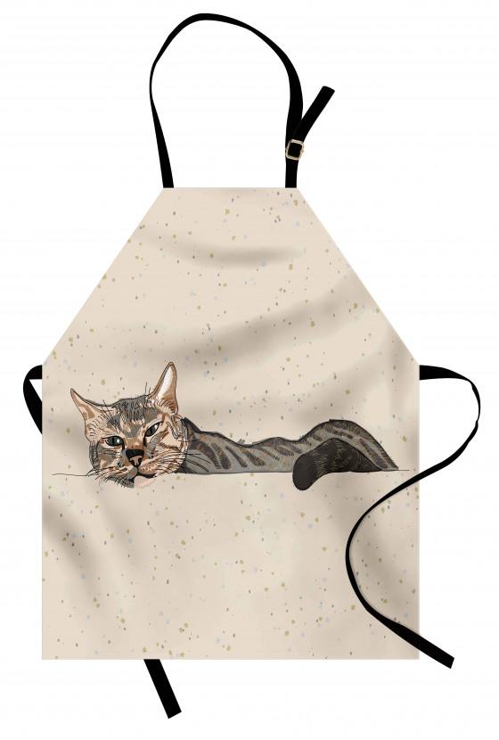 Kedi Desenli Mutfak Önlüğü Bej Trend Şık Tasarım Çizim