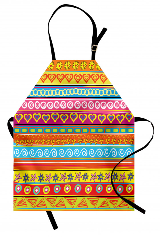 Kalp ve Çiçek Desenli Mutfak Önlüğü Rengarenk Çizgili