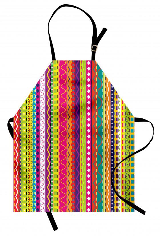 Rengarenk Şeritli Mutfak Önlüğü Şık Tasarım Dekoratif