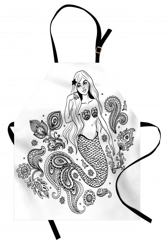 Güzel Deniz Kızı Temalı Mutfak Önlüğü Siyah Beyaz Şık