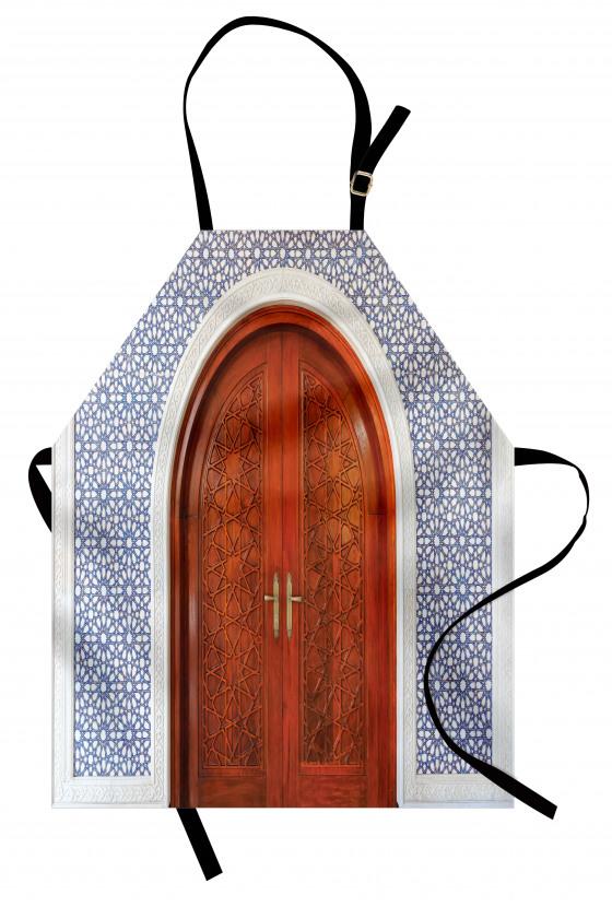 Ahşap Kapı ve Geometrik Mutfak Önlüğü Dekoratif