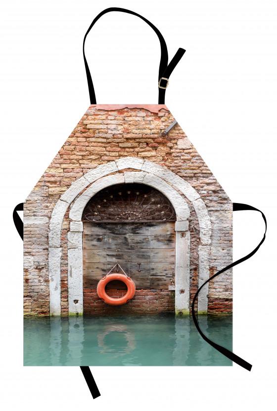Tuğla Duvar Kemer Deniz Mutfak Önlüğü Şık