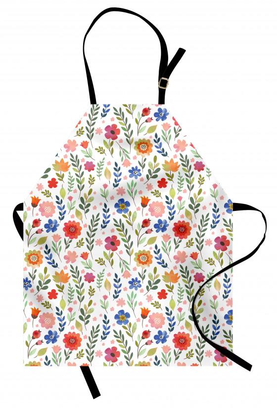 Turuncu Mavi Çiçek Mutfak Önlüğü Şık