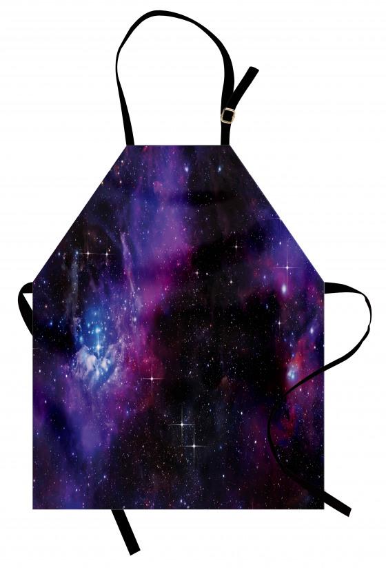 Lacivert ve Mor Uzay Mutfak Önlüğü Dekoratif