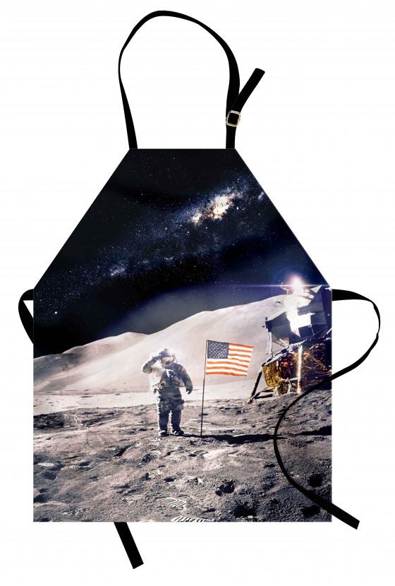 Şık Ay ve Astronot Mutfak Önlüğü ABD Bayraklı