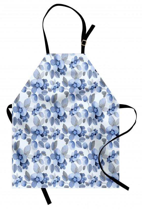 Mavi Lacivert Çiçek Mutfak Önlüğü Çeyizlik