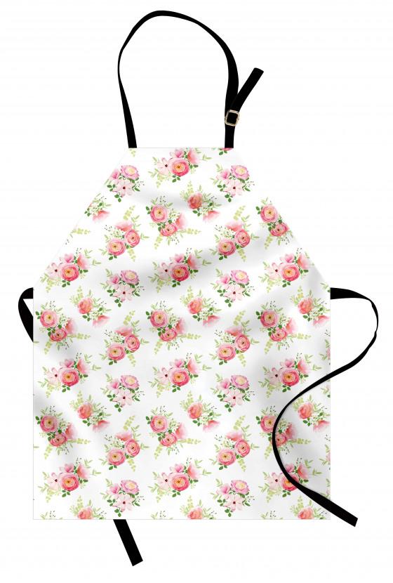 Çeyizlik Çiçek Desenli Mutfak Önlüğü Şık Pembe Sarı