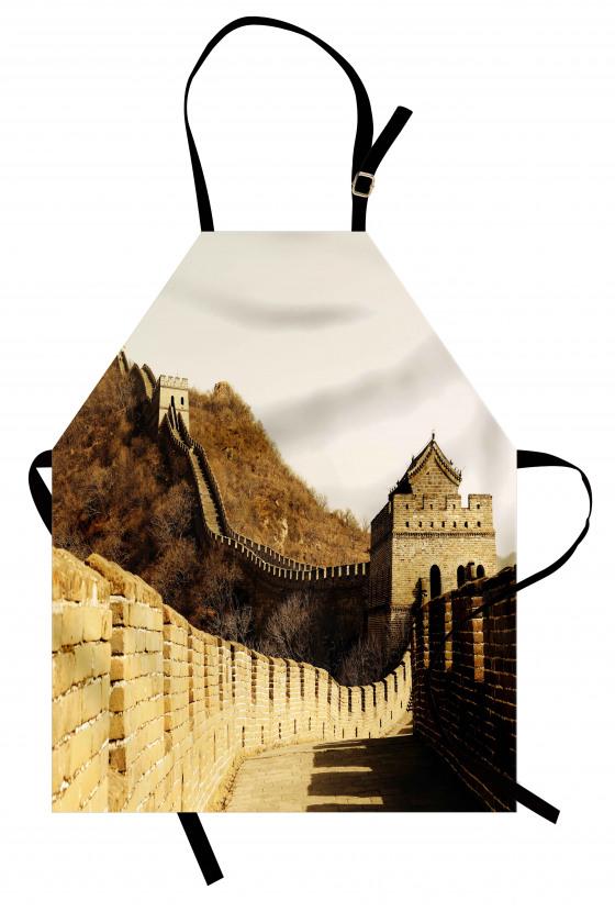 Sepya Çin Seddi Desenli Mutfak Önlüğü Antik
