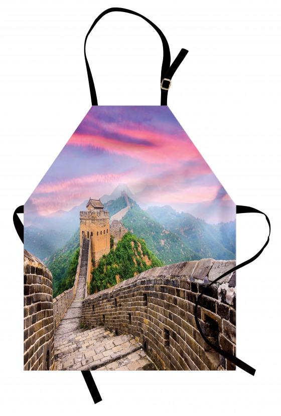 Pembe Mor Çin Seddi Mutfak Önlüğü Dekoratif