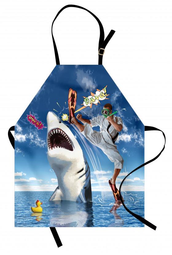 Köpek Balığına Tekme Mutfak Önlüğü Deniz