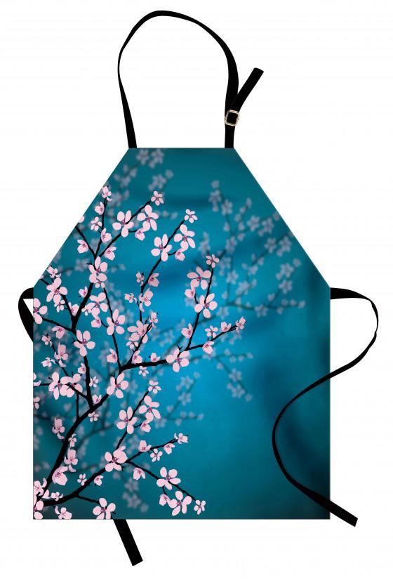 Pembe Çiçekli Ağaç Mutfak Önlüğü Bahar Coşkusu