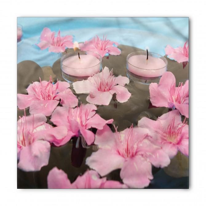 Pembe Çiçekler ve Mum Bandana Fular