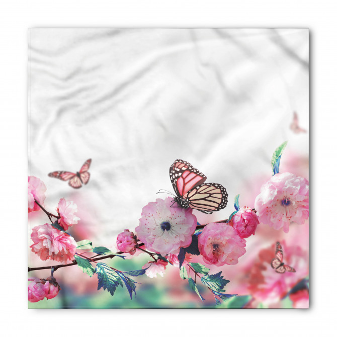 Pembe Çiçek ve Kelebek Bandana Fular