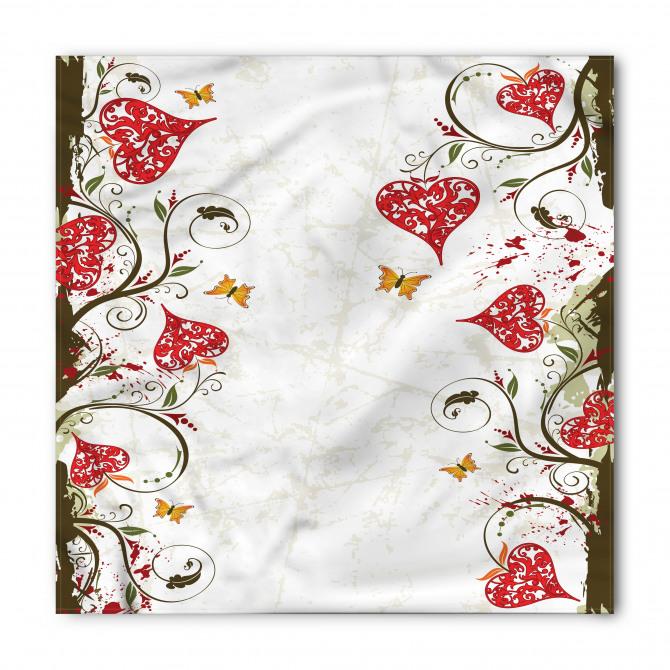 Kırmızı Kalpli Çiçekler Bandana Fular