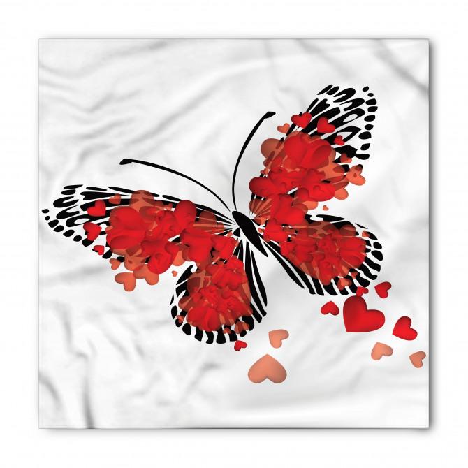 Kırmızı Kalpli Kelebek Bandana Fular