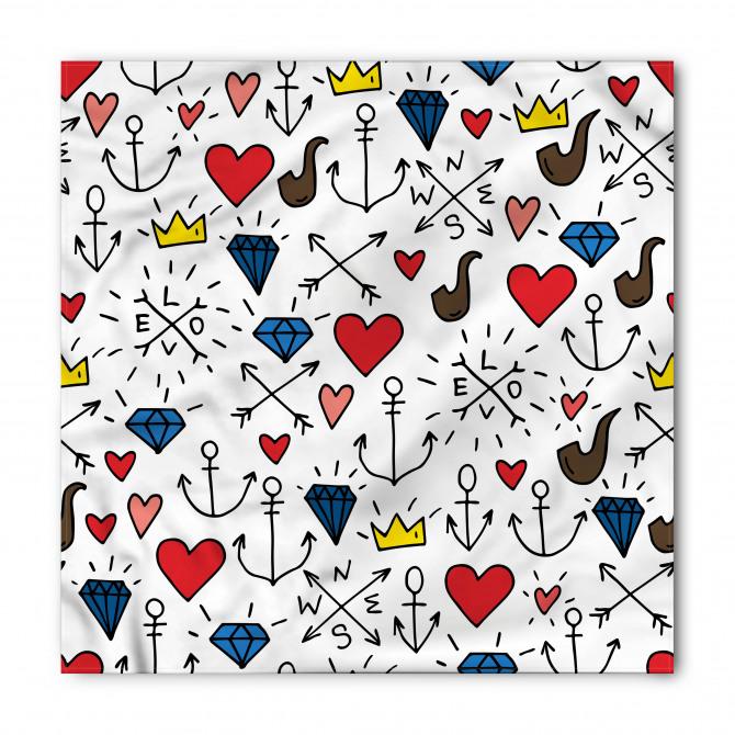 Kalp ve Pipo Desenli Bandana Fular
