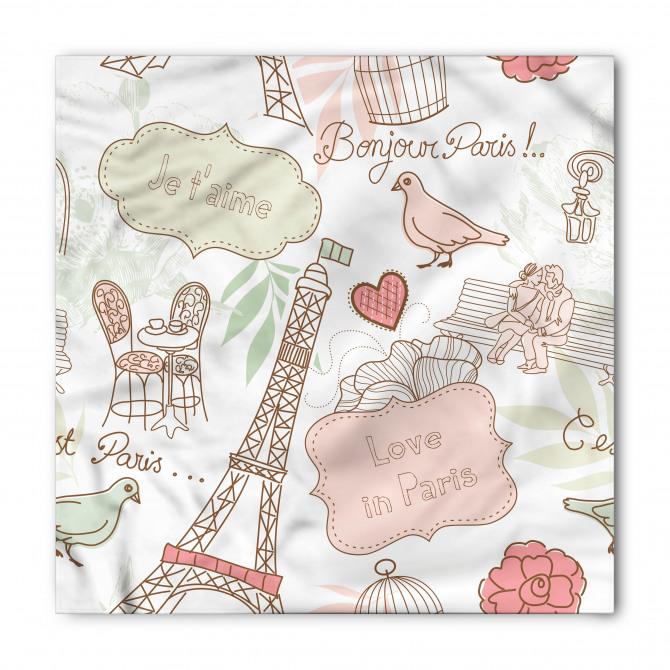 Paris'te Aşk Desenli Bandana Fular
