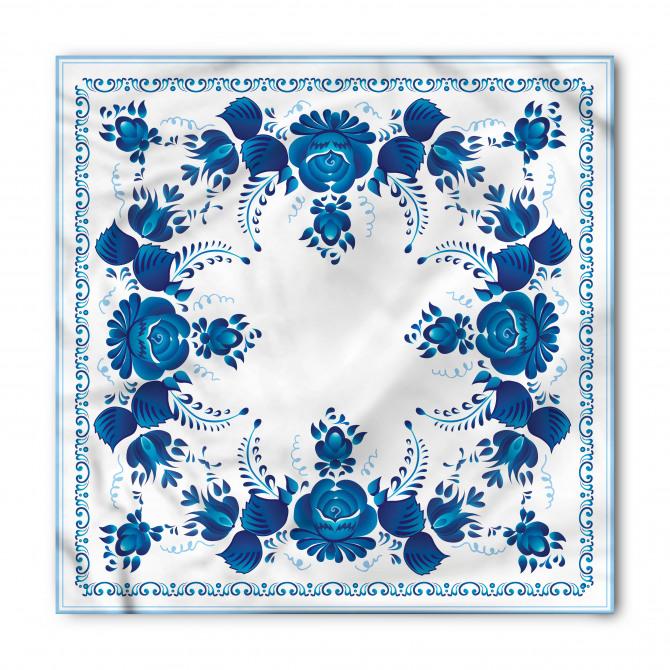 Mavi Beyaz Çini Desenli Bandana Fular