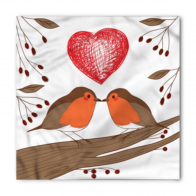Aşık Kuşlar Desenli Bandana Fular
