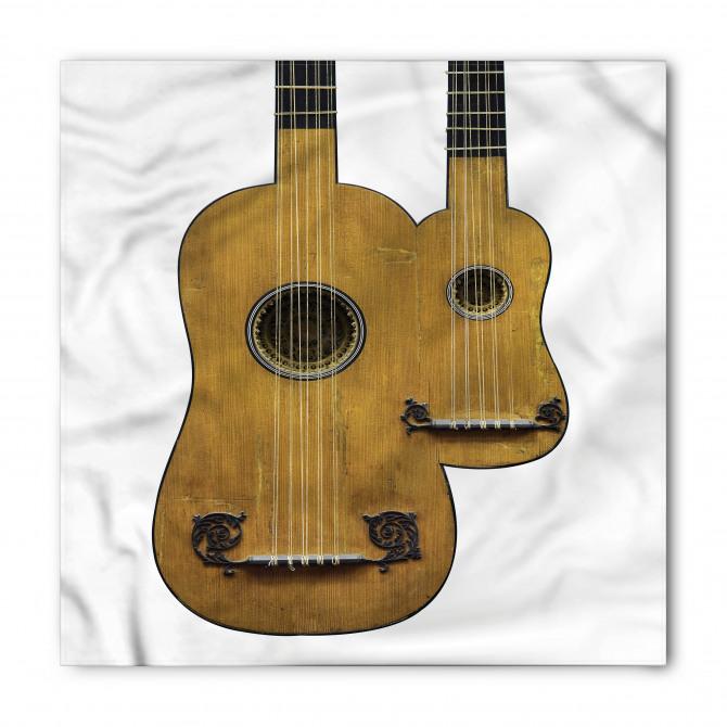 Nostaljik Gitar Desenli Bandana Fular