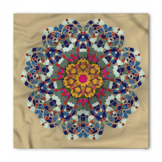 Lacivert Çiçek Desenli Bandana Fular