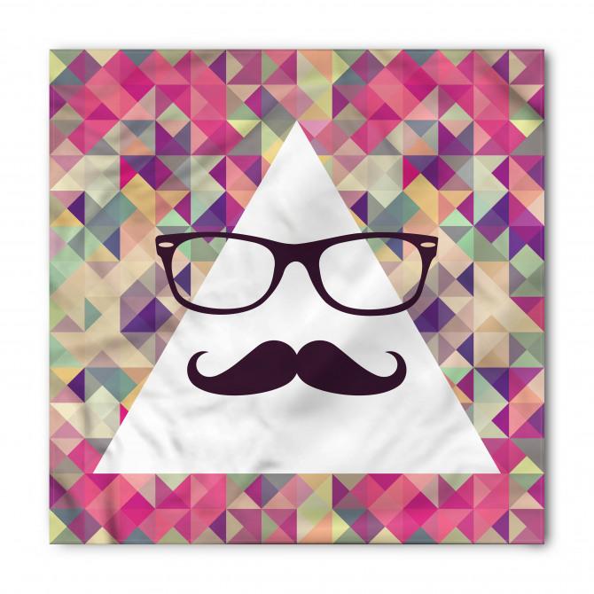 Bıyıklı ve Gözlüklü Üçgen Desenli Bandana Fular