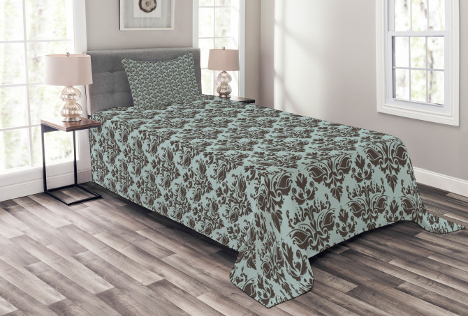 Damask Shapes Motif Bedspread Set