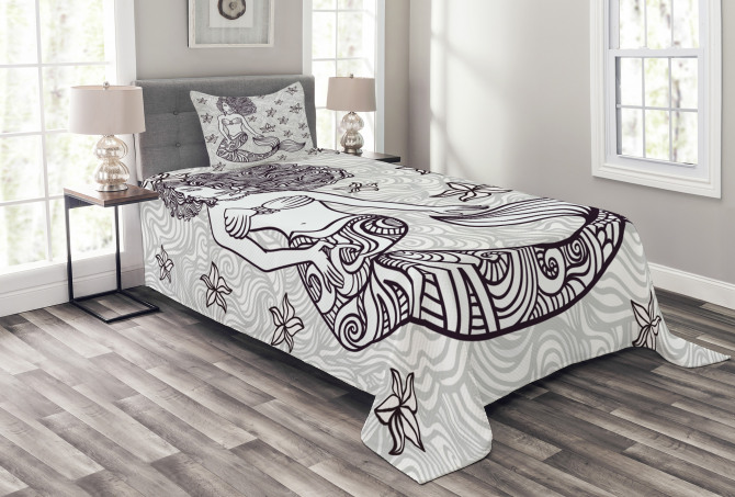 Magical Mermaid with Wave Bedspread Set