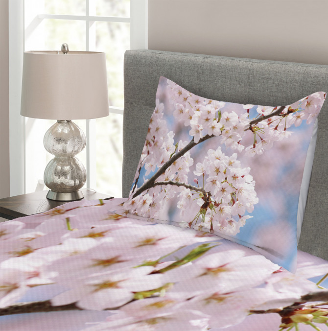 Floral Cherry Branches Bedspread Set