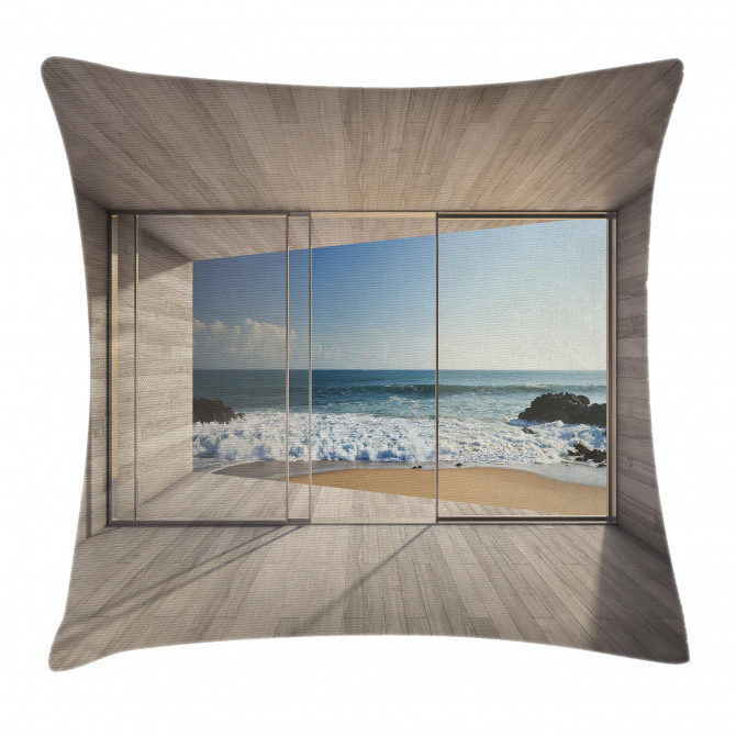 View of Sea Waves Rocks Pillow Cover