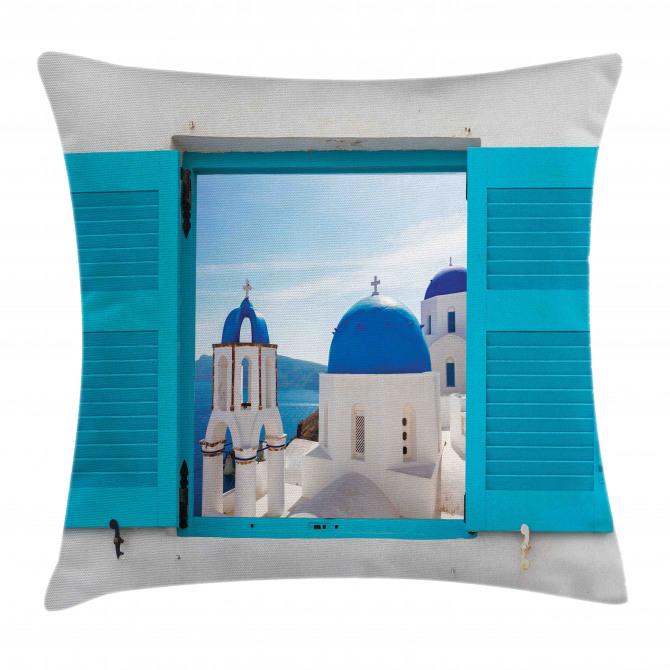 Greece Oia Building Pillow Cover