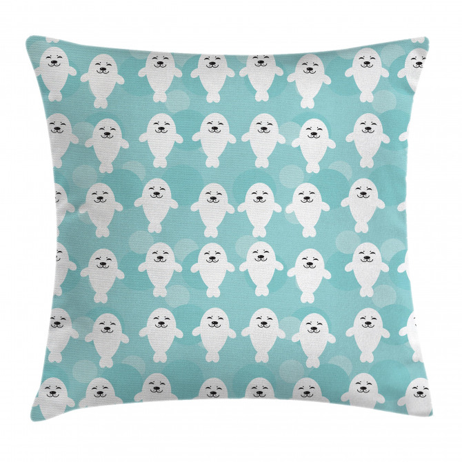 White Baby Seals Ocean Pillow Cover