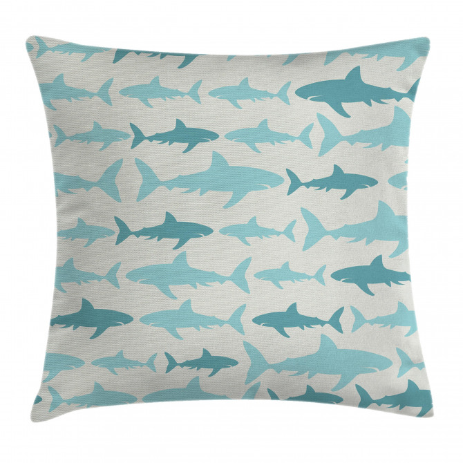 Swimming Sharks in Sea Pillow Cover