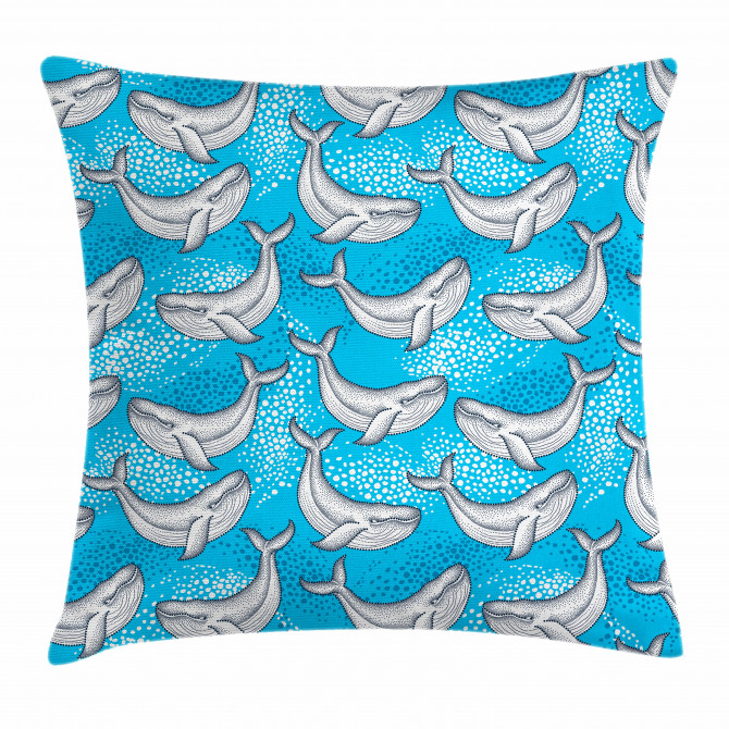 Dotted Whale Sea Ocean Pillow Cover