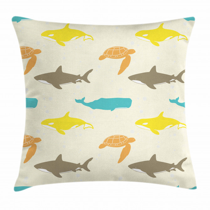 Whale Shark and Turtle Pillow Cover
