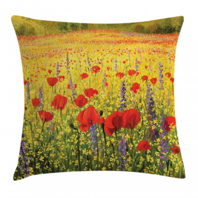 Field with Poppies Farm Pillow Cover