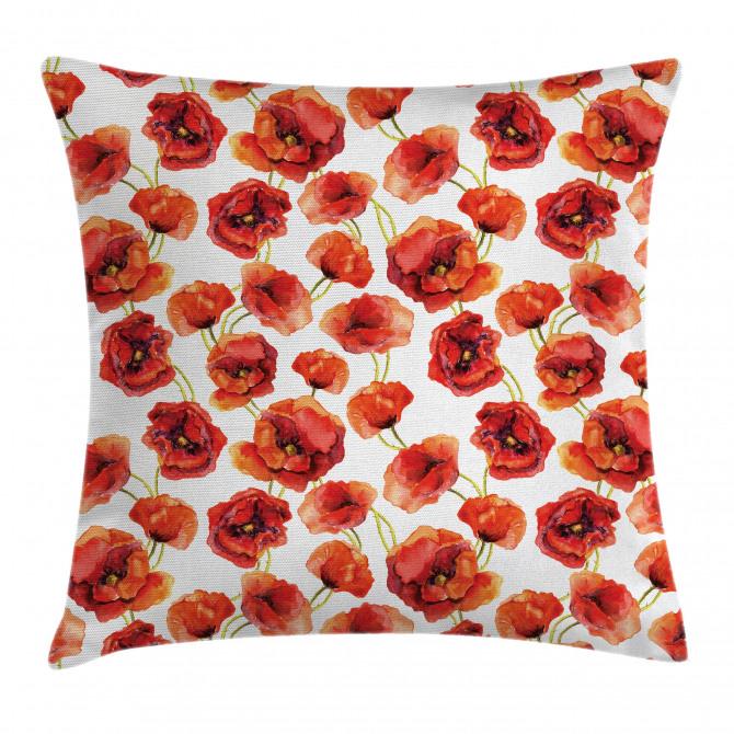 Poppies Garden Floral Pillow Cover