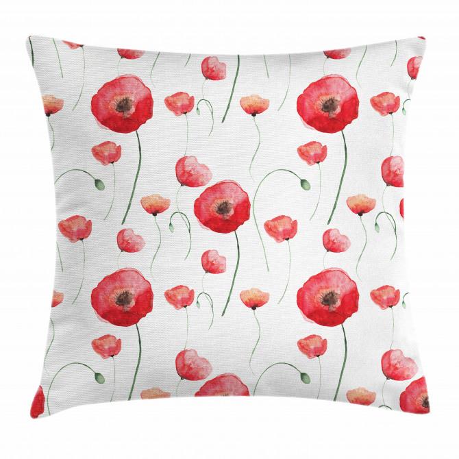 Poppy Blossom Leaves Pillow Cover