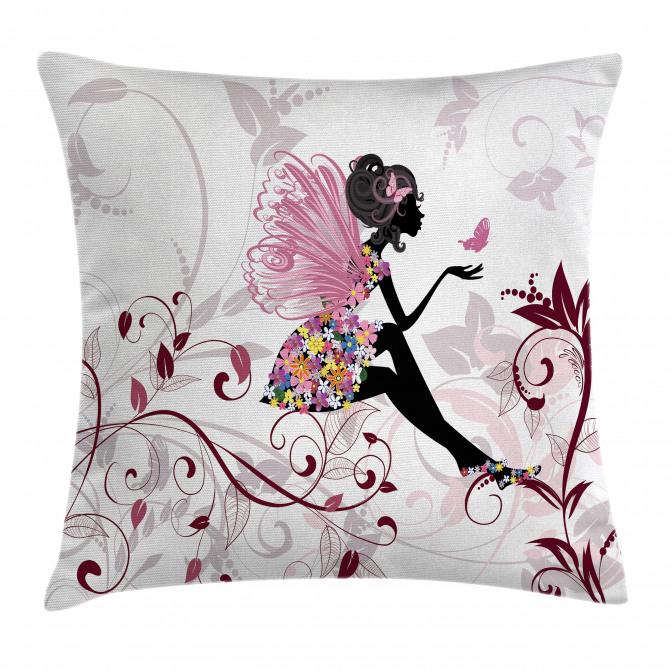 Flower Fairy Butterflies Pillow Cover